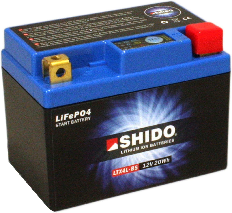 Motorrad Batterie Shido Lithium Ltx4l Bs Ytx4l Bs 12v 3ah Maße 114x71x86 Auto