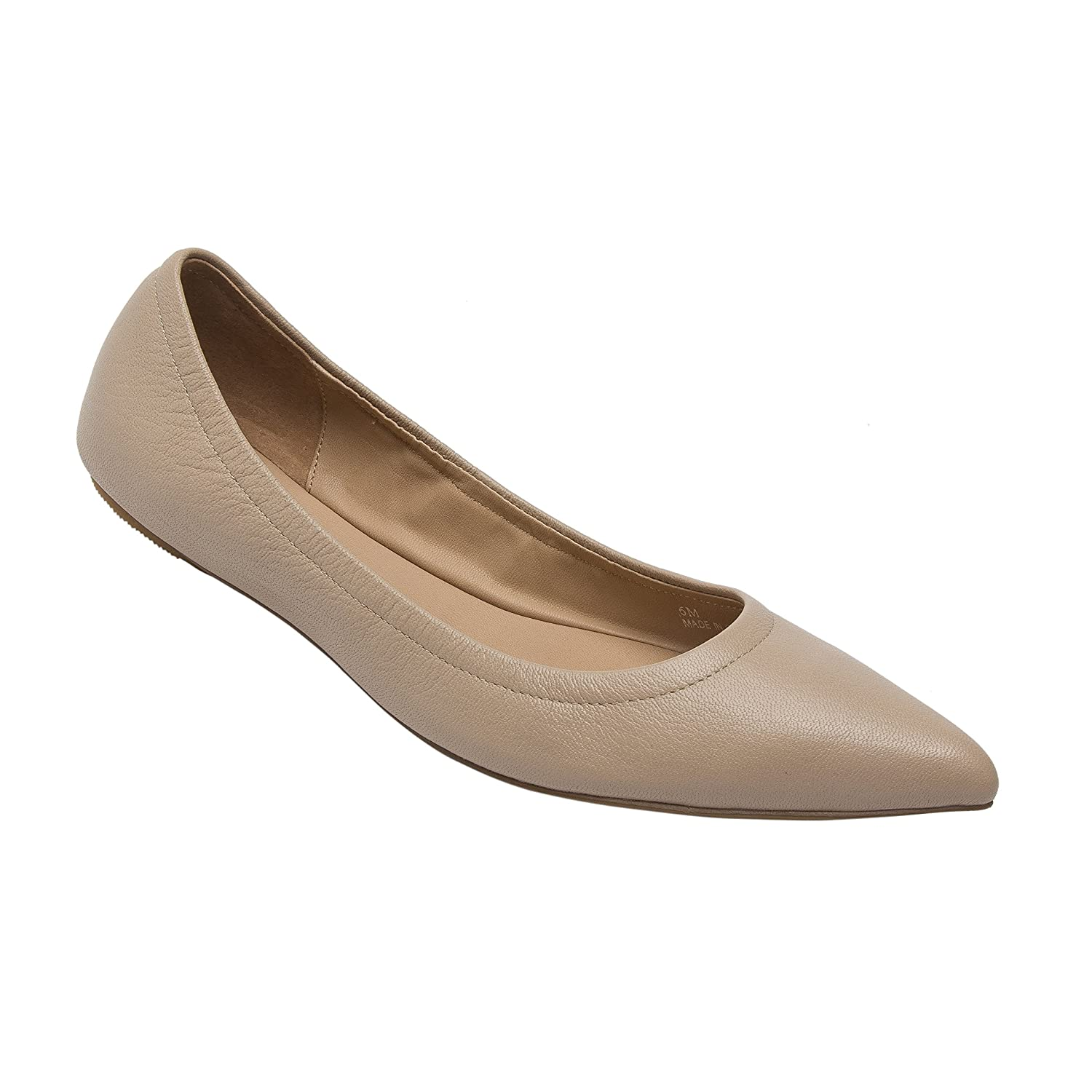 NICO | Women's Pointy Toe Elasticized Leather or Suede Ballet Flat (New Spring) B0778X1FTS 12 M US|Blush Light Pebbled Leather