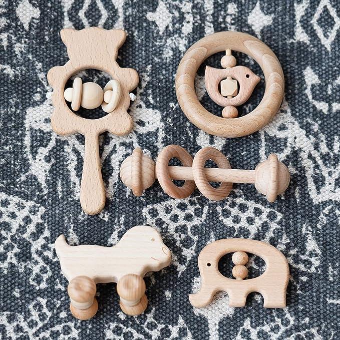 Mamimami Home 5PC Bebé mordedor de madera juguetes madera de ...
