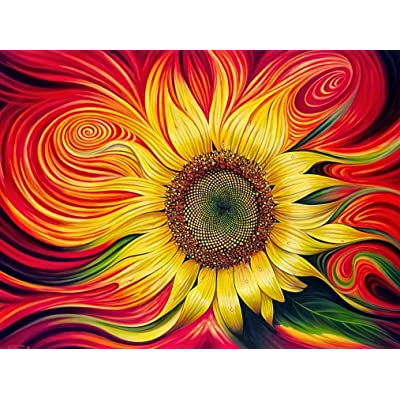 Wooden Puzzles for Adults 1000 Piece Sunflower Art Puzzle Game Challenging DIY Assemble Toys Classic Art Love Unique Gift: Toys & Games