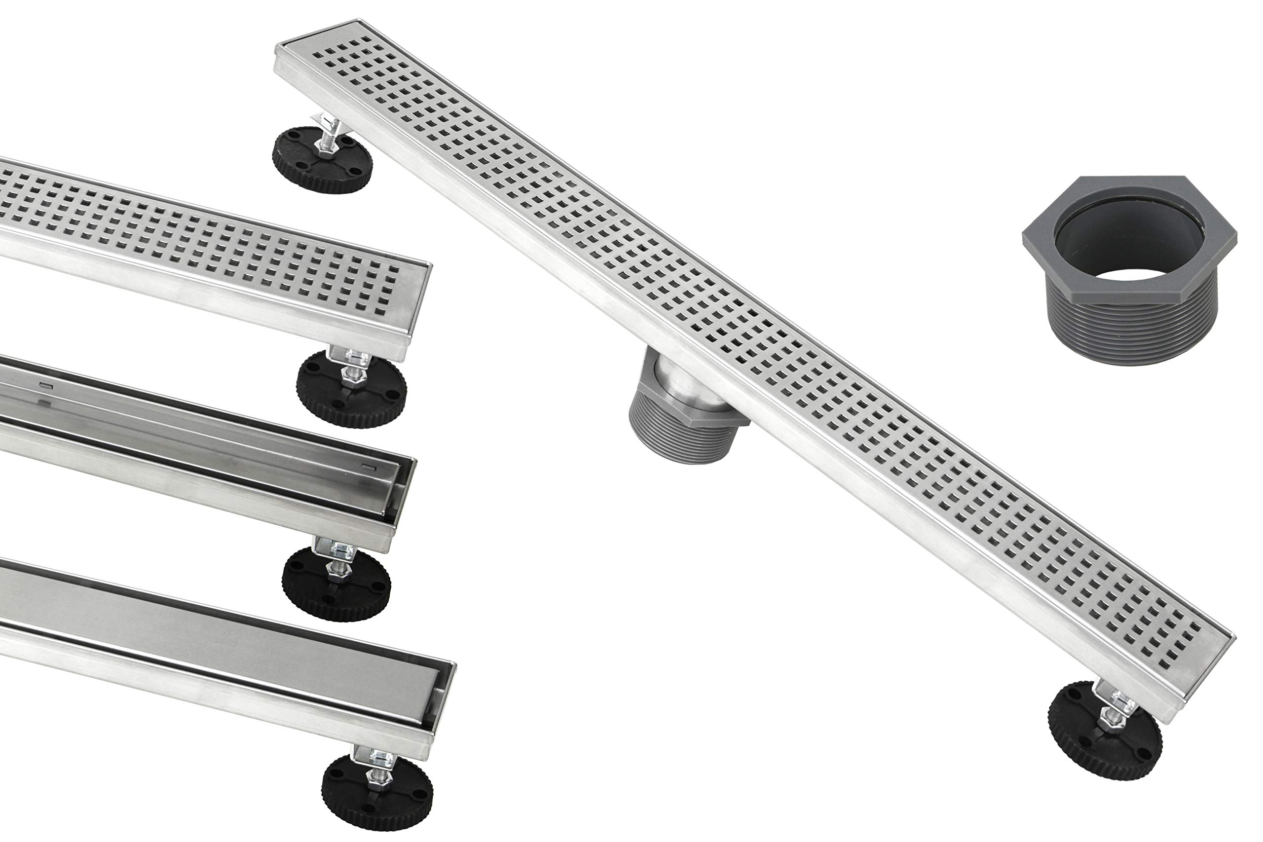 Shower Linear Drain 48 Inch - Square Checker Pattern Grate - Brushed 304 Stainless Steel - Bonus 2-Sided Tile Insert & Flat Grate and Threaded Adaptor - Adjustable Leveling Feet (48 Inch)