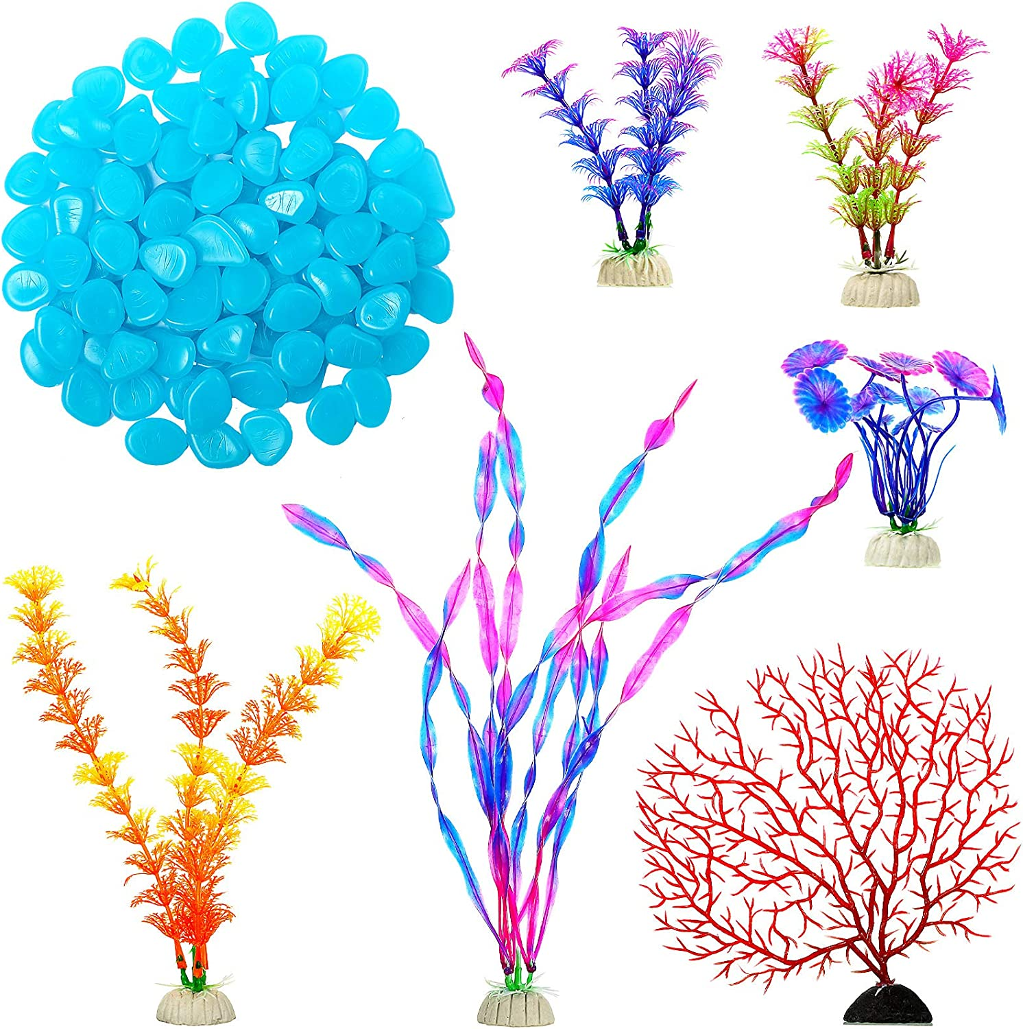 WILLBOND 106 Pieces Coral Plastic Plants and Glowing Rocks Set Include 6 Pieces Small Artificial Seaweed Decor and 100 Pieces Luminous Pebbles Glow Stone for Fish Tank Aquarium Landscaping