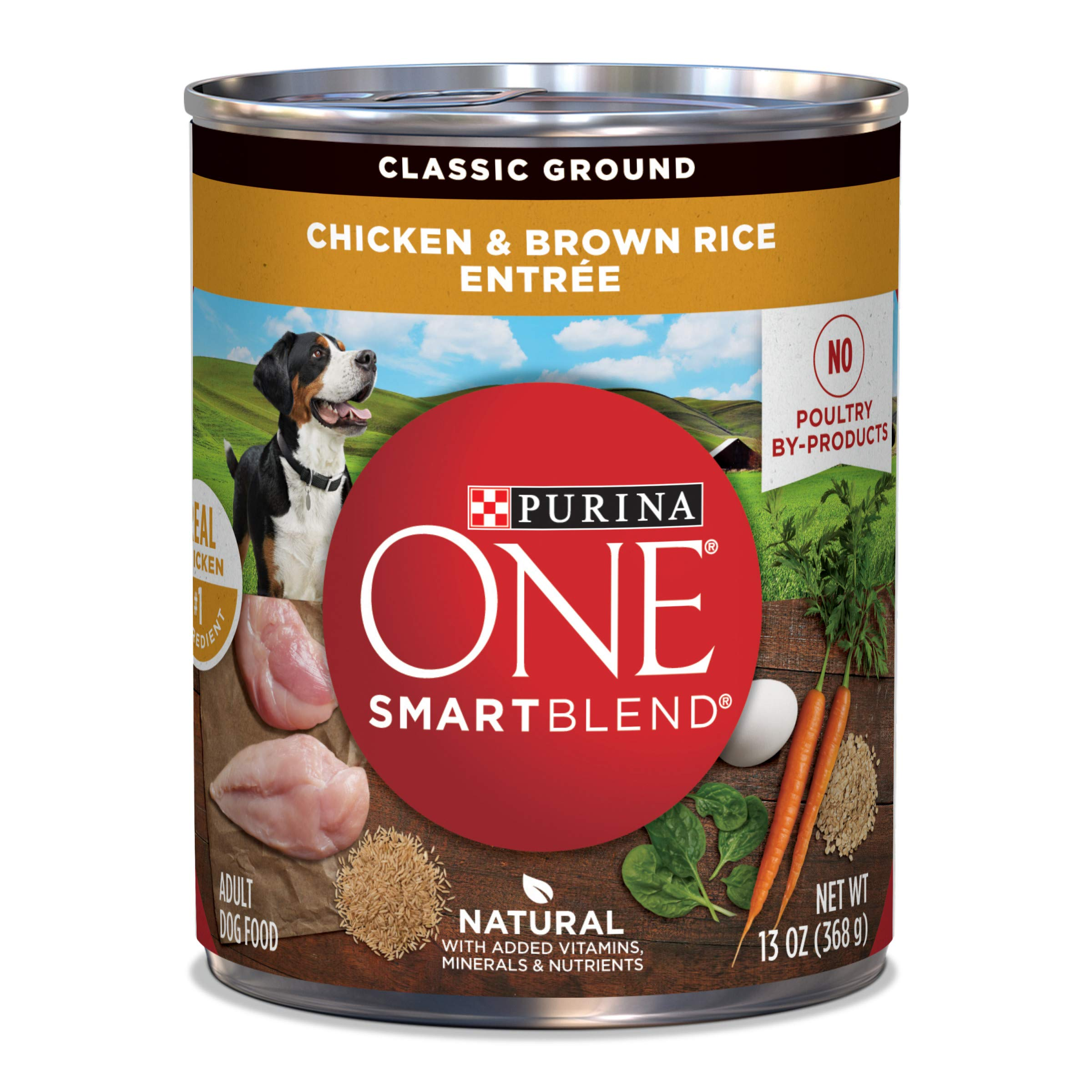 Purina ONE Natural Pate Wet Dog Food, SmartBlend Chicken & Brown Rice Entree - (12) 13 oz. Cans by Purina ONE