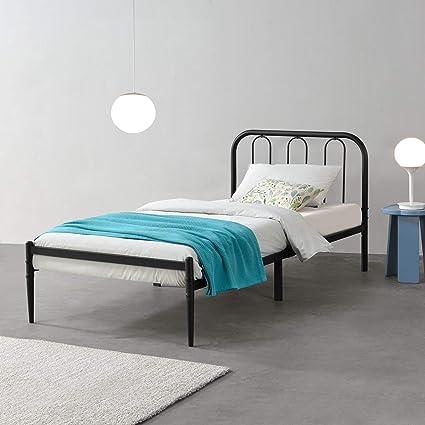 [en.casa] Cama de Metal con Somier 200 x 90 cm Cama Simple Cama Individual Negro Mate