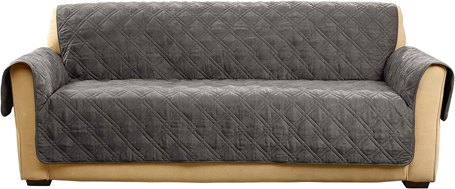 SureFit Microfiber Sofa Pet Throw/Slipcover with Arms, Dark Gray: Kitchen & Dining