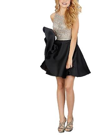 Half Flower Bridal Black Short Graduation Dress Beading Bodice Prom Dress Girl Homecoming Dress
