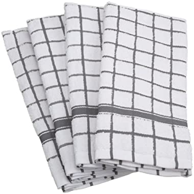 DII Cotton Terry Windowpane Dish Towels, 16 x 26  Set of 4, Machine Washable and Ultra Absorbent Kitchen Bar Towels-Gray