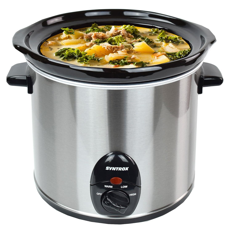 Syntrox Germany 3,0litri in acciaio inox Slow Cooker con funzione mantenimento a caldo, vetro di sicurezza e contenitore in ceramica–ciotola rimovibile langsa mgarer slow-cooker