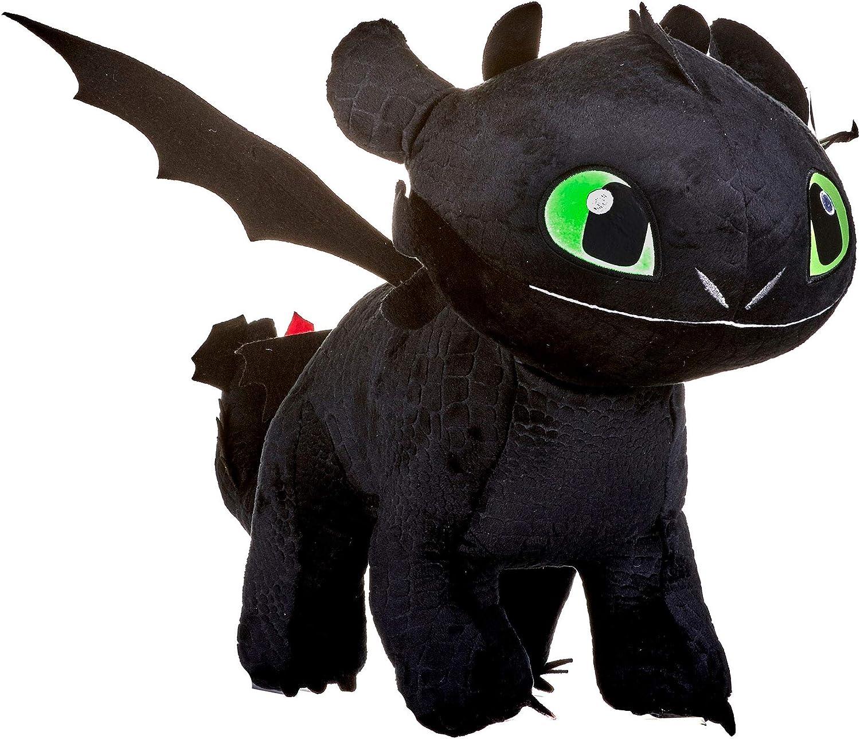 HTTYD Plush Dragon Desdentado Toothless Furia Nocturna Negro Furia 40cm Brilla en la Oscuridad