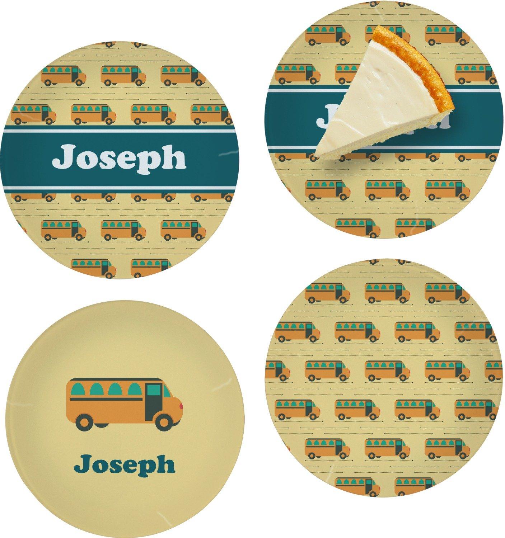 School Bus Set of 4 Glass Appetizer/Dessert Plate 8'' (Personalized)
