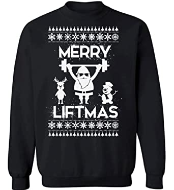 pekatees merry liftmas sweatshirt funny santa lifting sweater ugly christmas sweaters for fitness and workout fans
