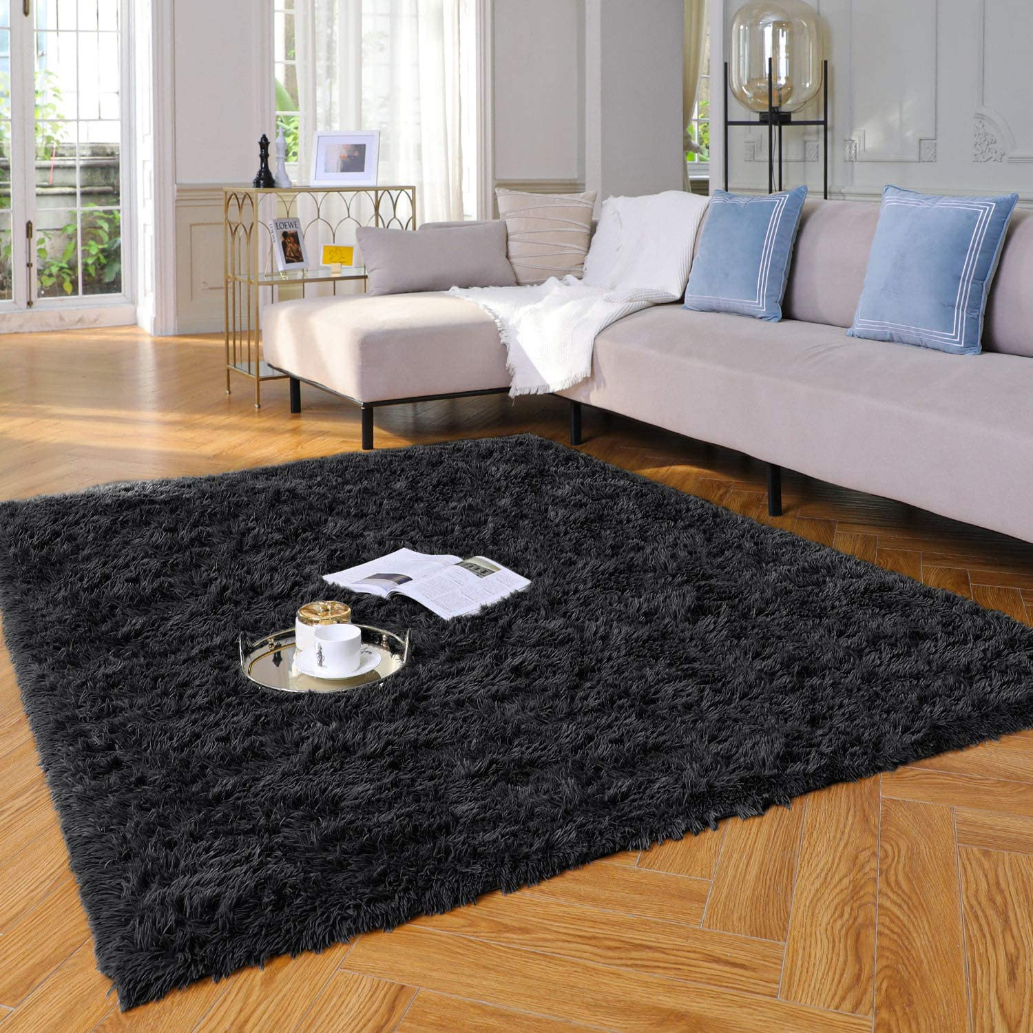 Yome Machine Washable Area Rug, Fuzzy Soft Carpet with Durable Edges, Home Decor Floor Rug for Your Home's Living Room, Bedroom, Kid's Room, Office, Fluffy Rug 4 x 5.3 Feet, Deep-Black.