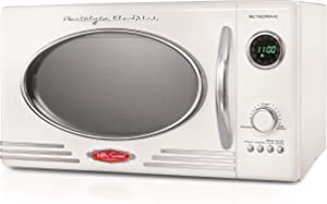 Nostalgia RMO4IVY Retro 0.9 Cubic Foot 800-Watt Countertop Microwave Oven, 5 Power Levels and 12 Cook Settings, LED Display, Ivory