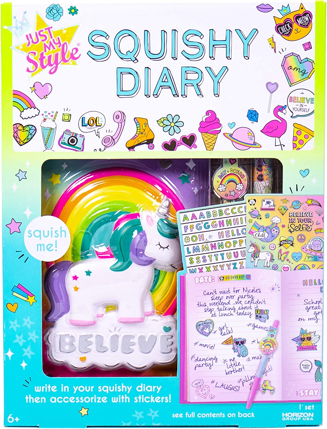 Just My Style Squishy Diary by Horizon Group USA, Slow Rising, Stress Relieving Squish. Unicorn & Rainbow. Includes Diary, Sticker Sheet & Pen
