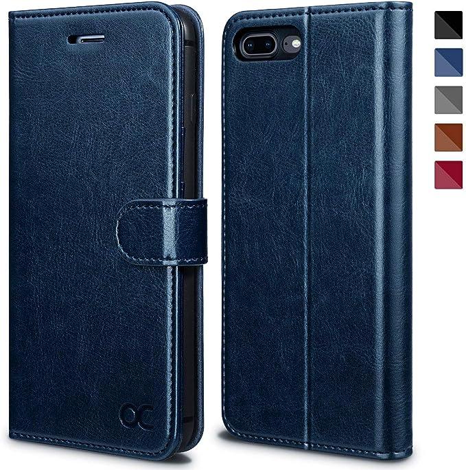 Ocase Iphone 7 Plus Case Iphone 8 Plus Case Tpu Shockproof Interior Card Slot Pu Leather Flip Case For Apple Iphone 7 Plus 8 Plus Blue Amazon Co Uk Electronics