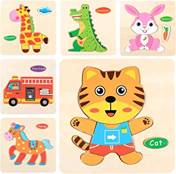Simple Days Wooden Jigsaw Puzzles for Kids - Pack of 6 Different Patterns in A Frame Board (Set of 6 Puzzles)
