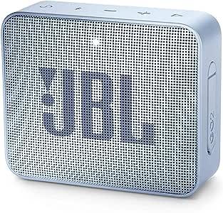 JBL GO2 Portable Bluetooth Speaker with Rechargeable Battery – Waterproof – Built-in Speakerphone – Light Blue