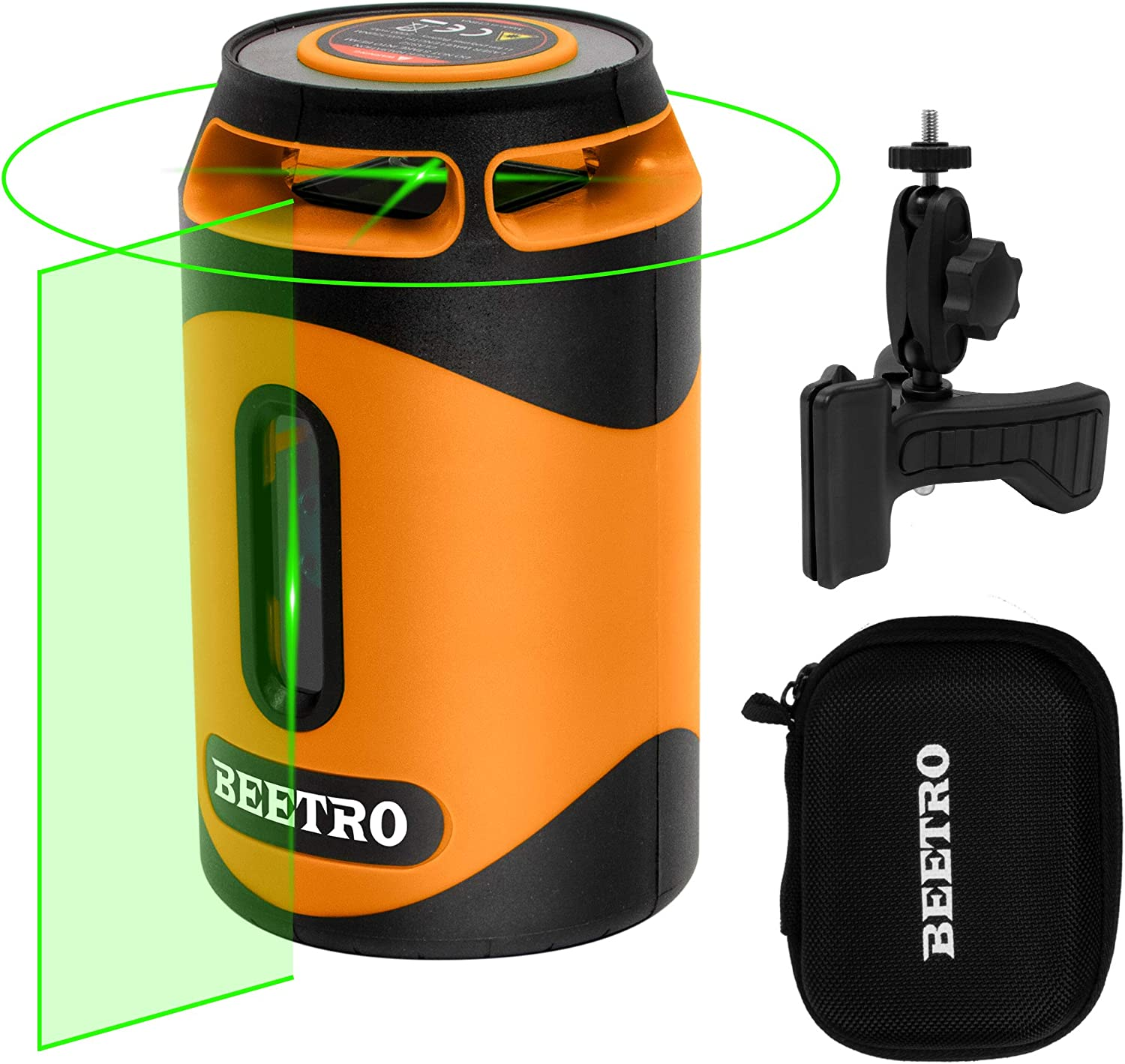 Beetro Laser Level 100ft 360° Green Cross Line Self leveling for Construction, Picture Hanging, Home Renovation, Magnetic Mount Base, 2000mAh Li-ion Battery,Laser class 2, Max Output 1mW BE0079