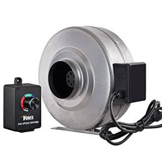 iPower 4 Inch 206 CFM Duct Inline Fan HVAC Exhaust Blower with Variable Speed Controller