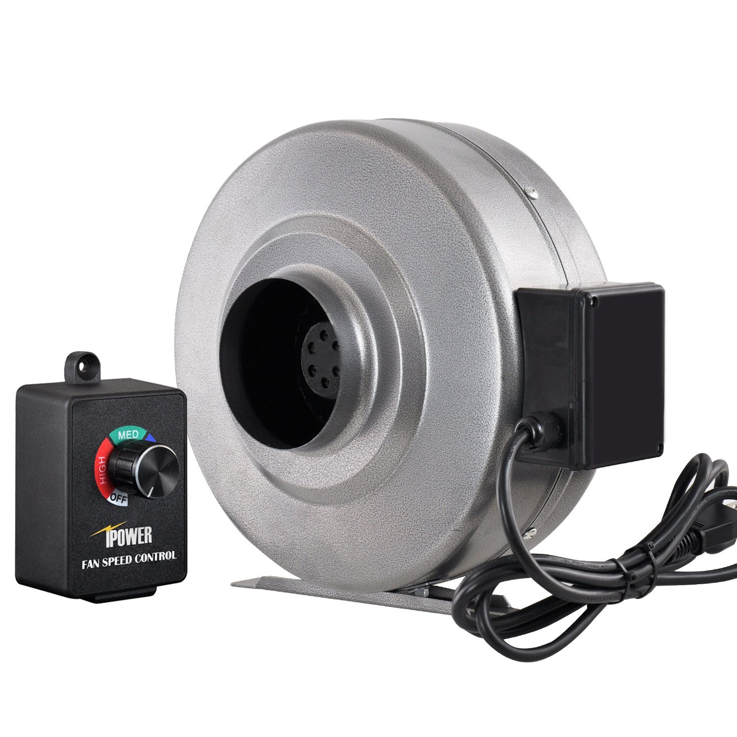 iPower 4 inch 206 CFM Duct Inline Fan HVAC Exhaust Blower Variable Speed Controller
