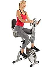Sunny Health & Fitness Bicicletas Verticales Semi-reclinables magnéticas Plegables Confort XL con Alta Capacidad de Peso y Control de frecuencia de Pulso - SF-B2721