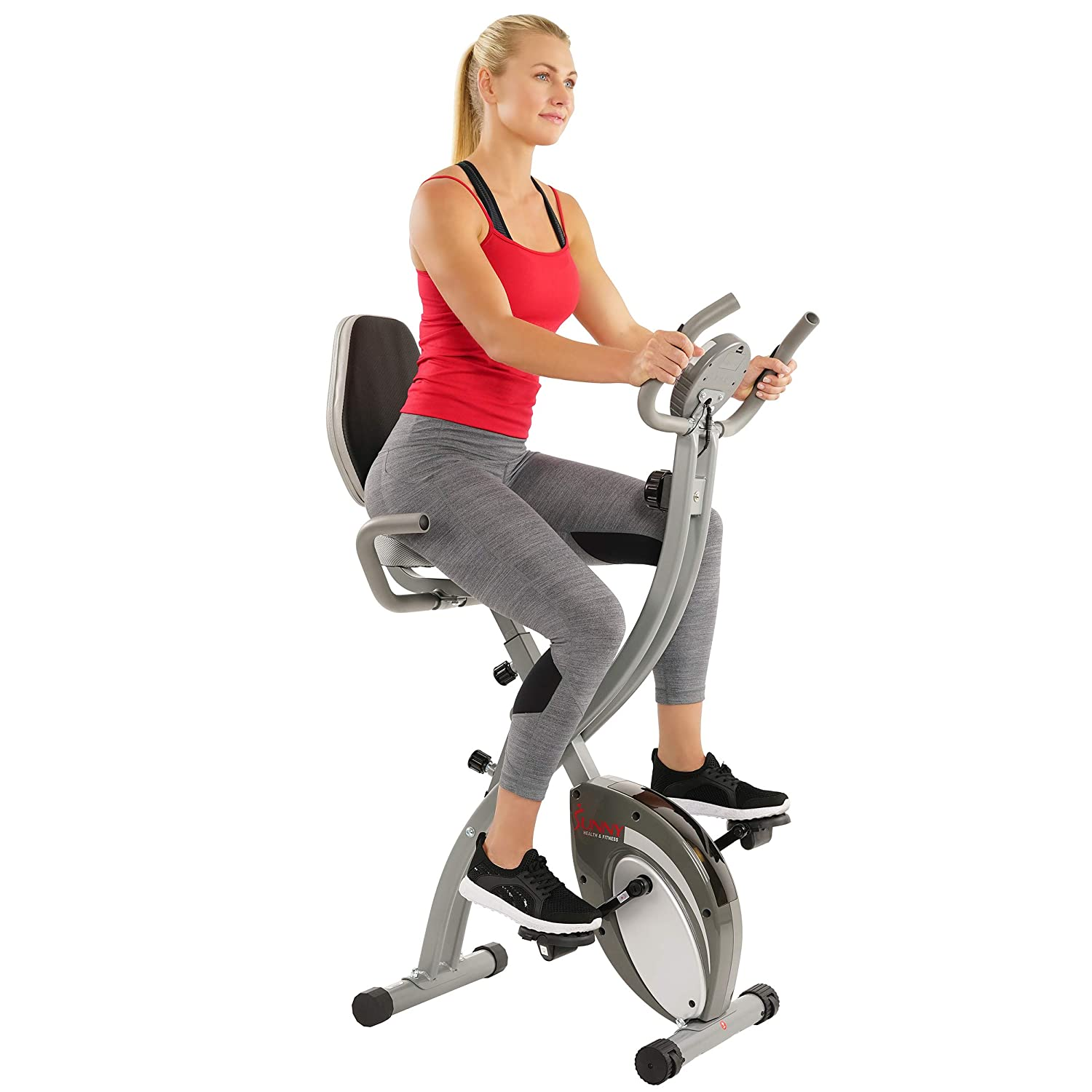 Sunny Health & Fitness Comfort XL Ultra Cushioned Seat Folding Exercise Bike with 300 LB Max Weight, Pulse Monitor, Device Holder and Digital Display - SF-B2721