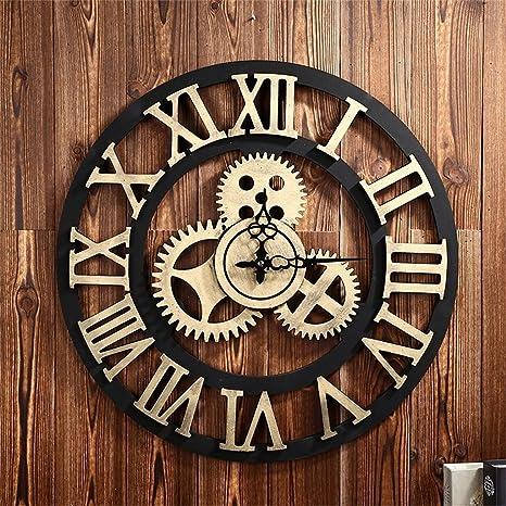 50cm (D) / 20 pulgadas silencioso relojes de pared, grandes pegatinas de pared Gear Roman 3D reloj ...
