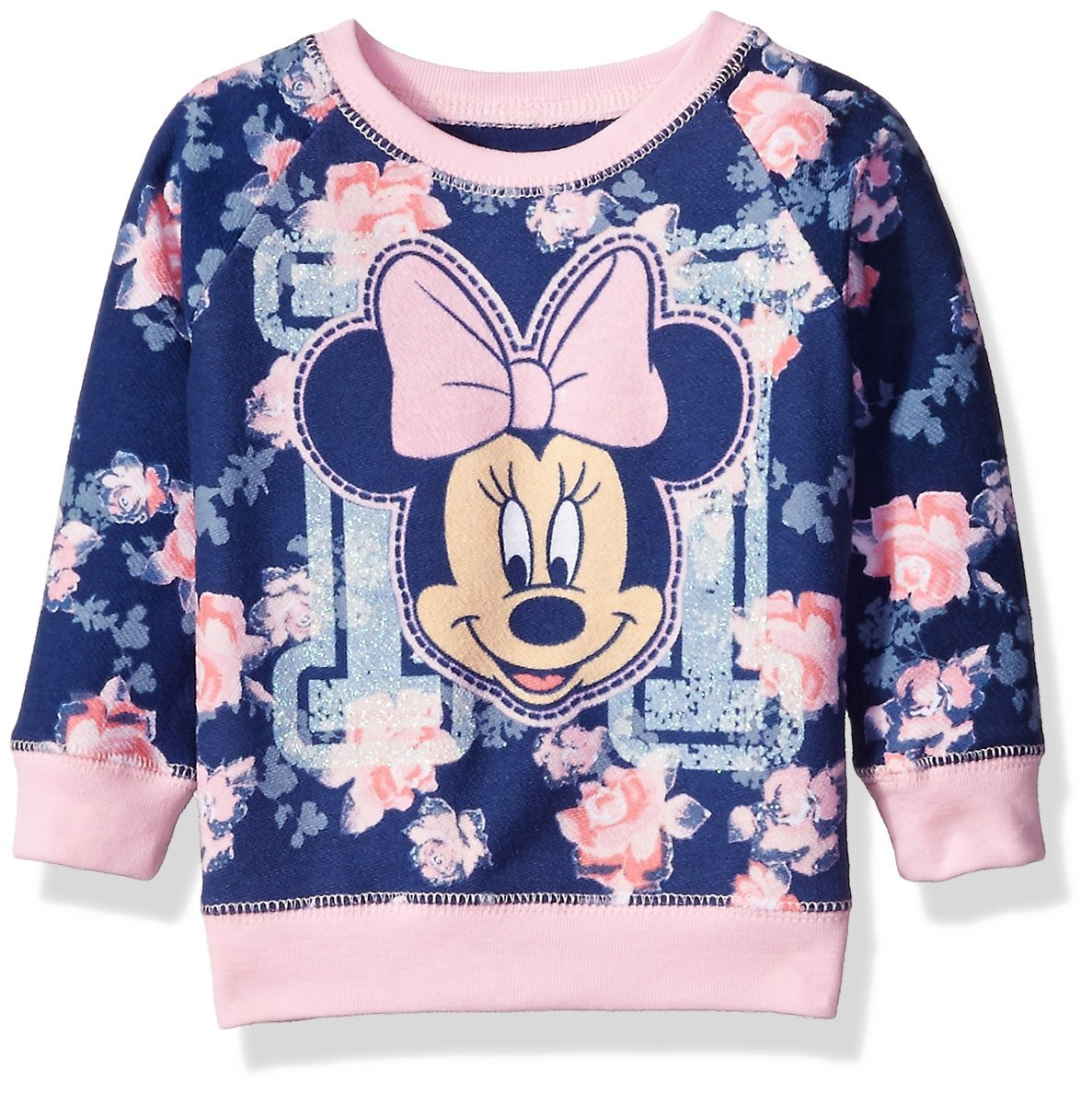 Disney Little Girls' Toddler Minnie Mouse Floral All Over Print French Terry Sweatshirt, Navy, 3T