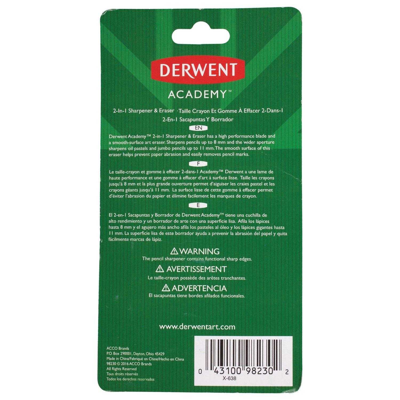 Amazon.com : Derwent Academy Pencil Sharpener & Eraser, 2-In-1 (98230) : Office Products