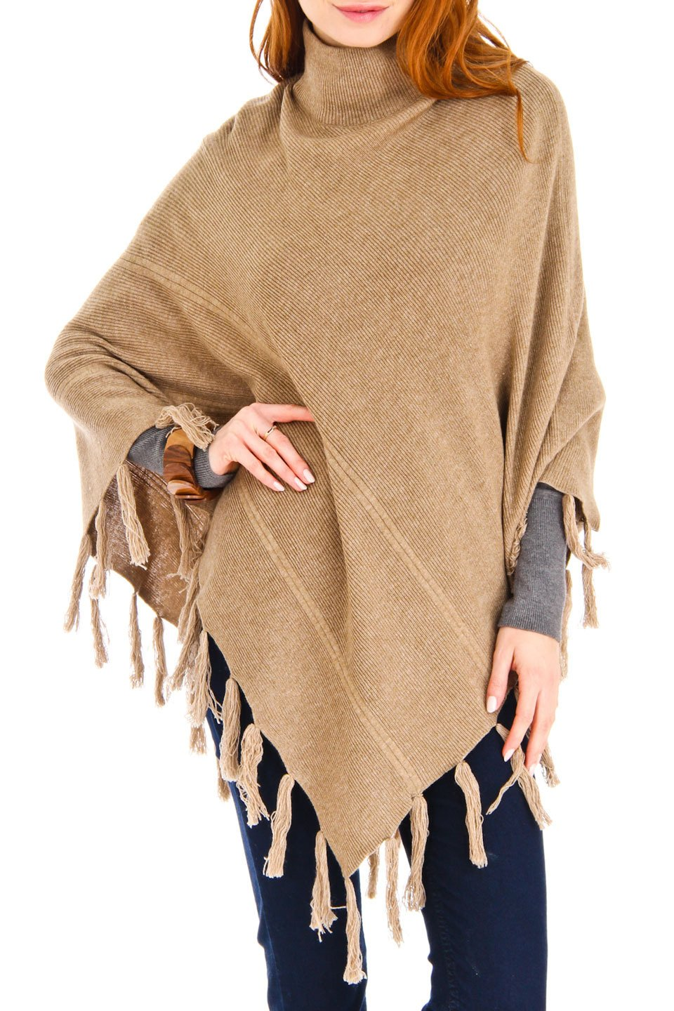 100% Mongolian Cashmere Turtleneck Poncho/Wrap with hand made fringes (Camel/beige)
