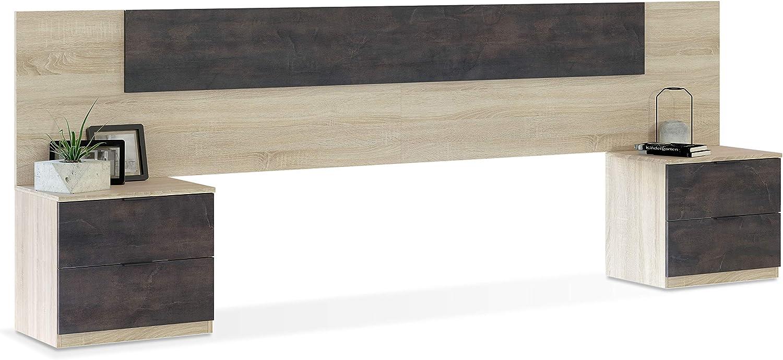 Cabezal + Dos Mesitas de Noche, Cabecero y Mesitas, Modelo Alaya, Acabado en Roble Canadian y Oxido, Medidas: 247 cm (Ancho) x 50 cm (Alto) x 38 cm (Fondo)