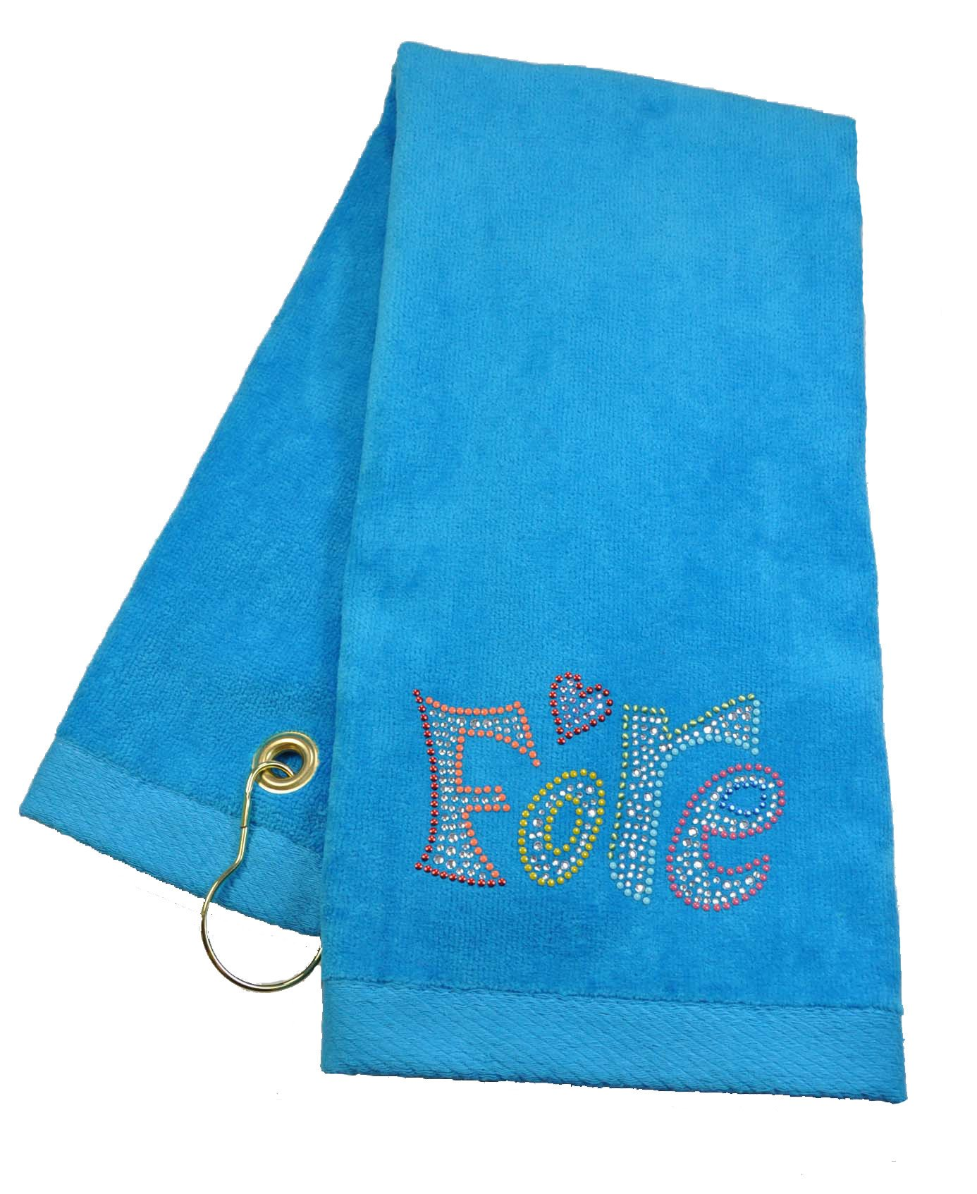 Navika Turquoise Fore Towel Accented with Crystals