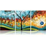Ode-Rin Art - Modern Abstract Landscape Tree 3 Pieces Wall Art Artwork Blue Framed Giclee Canvas Prints for Living Room Home Decor, Ready to Hang - 36x16 Inch