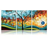 Amazon Price History for:Ode-Rin Art - Modern Abstract Landscape Tree 3 Pieces Wall Art Artwork Blue Framed Giclee Canvas Prints for Living Room Home Decor, Ready to Hang - 36x16 Inch