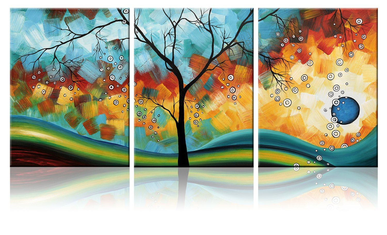Ode-Rin Art - Modern Abstract Landscape Wall Art Tree 3 Pieces Artwork Blue Framed Giclee Canvas Prints for Living Room Home Decor, Ready to Hang - 36x16 Inch