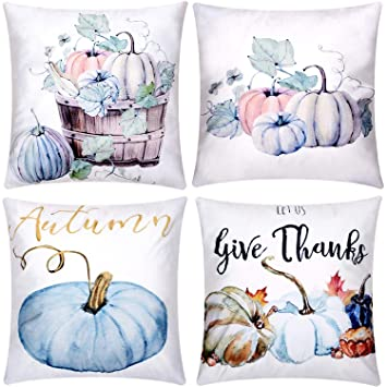 Color Set 1 Jetec 4 Pieces Pillow Case Throw Cushion Cover Cotton Linen Pillow Decorations for Halloween Thanksgiving Christmas Autumn 18 by 18 inch