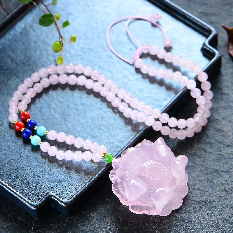 Genuine AAA Quality Rose Quartz Necklace Pendants Crystal Gemstone Round Beads