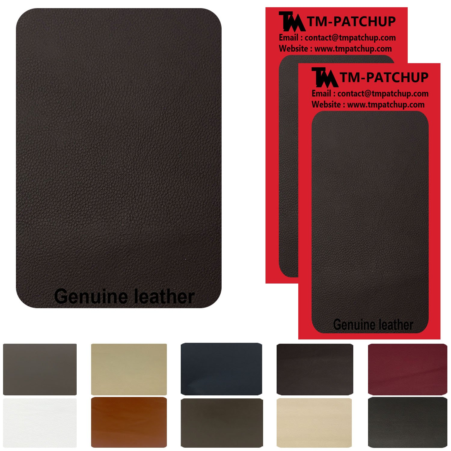 2 Pieces Dark Brown Leather and Vinyl repair patch by TMgroup, genuine faux leather repair patch, peel and stick for couch, sofas, car seats, hand bags,furniture, jackets, large size 3'' x 6''