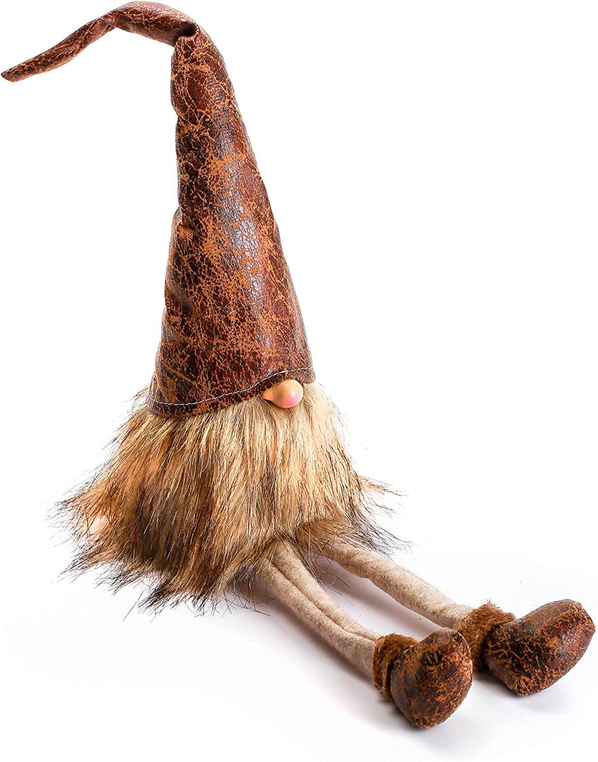 ITOMTE Handmade Swedish Gnome, Scandinavian Tomte, Yule Santa Nisse, Nordic Figurine, Plush Elf Toy, Home Decor, Winter Table Ornament, Christmas Decorations, Holiday Presents - 20.5 Inches, Leather