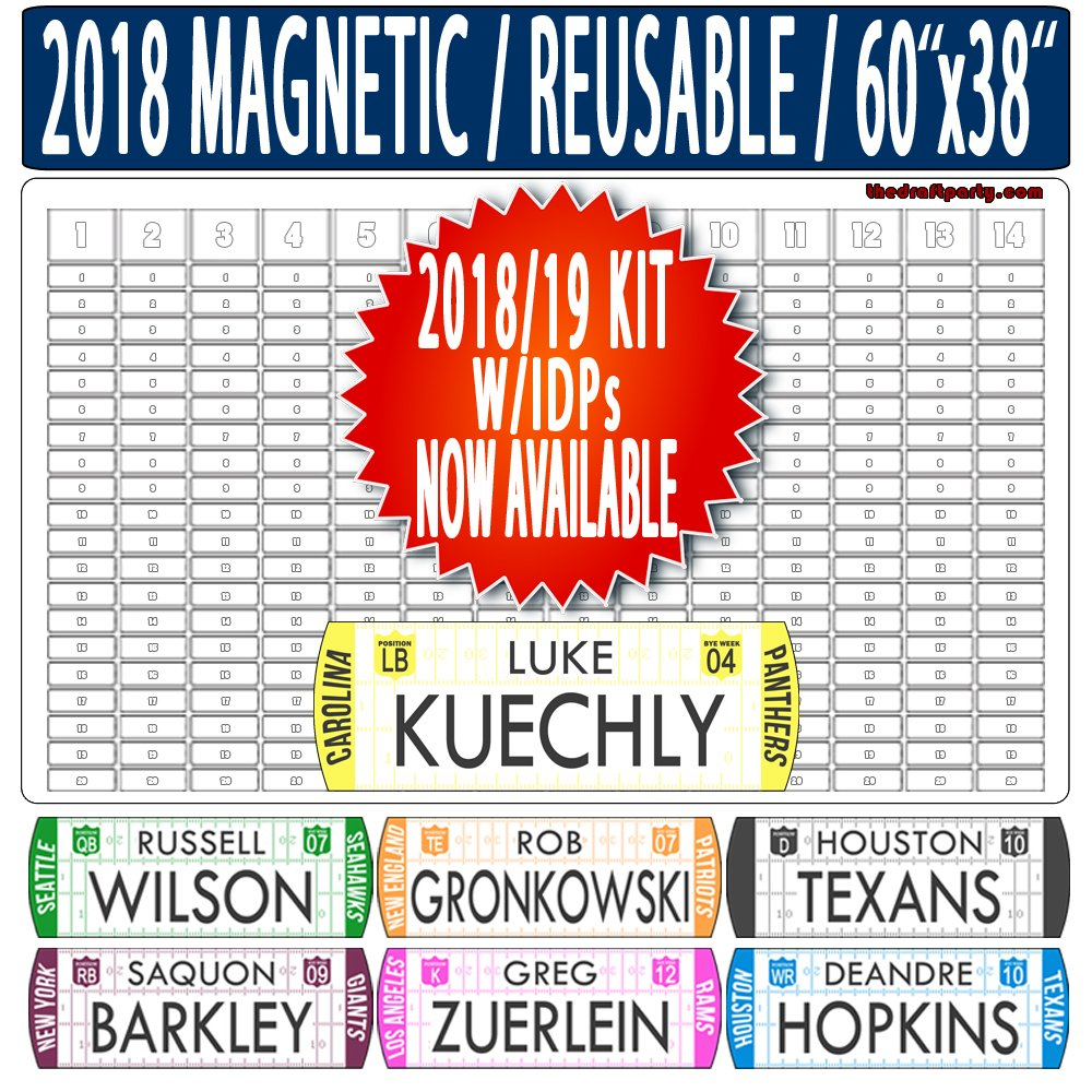 "Fantasy Football Draft Board - W/INDIVIDUAL DEFENSIVE PLAYERS - REUSABLE/PORTABLE - 2018/19 MAGNETIC Kit, 388 MOVABLE Names - Write/Erase Option – MULTI-SPORT (MLB, NHL, NBA) – Large 60""x38"""
