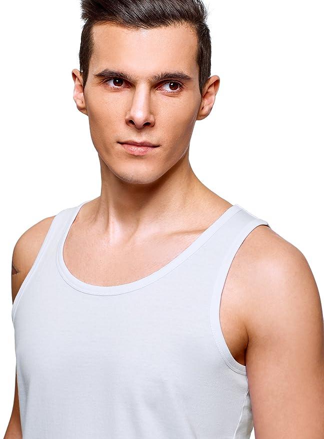 oodji Ultra Hombre Pijama de Algodón con Pantalón Corto, Blanco, 38cm / ES 44 / XS: Amazon.es: Ropa y accesorios