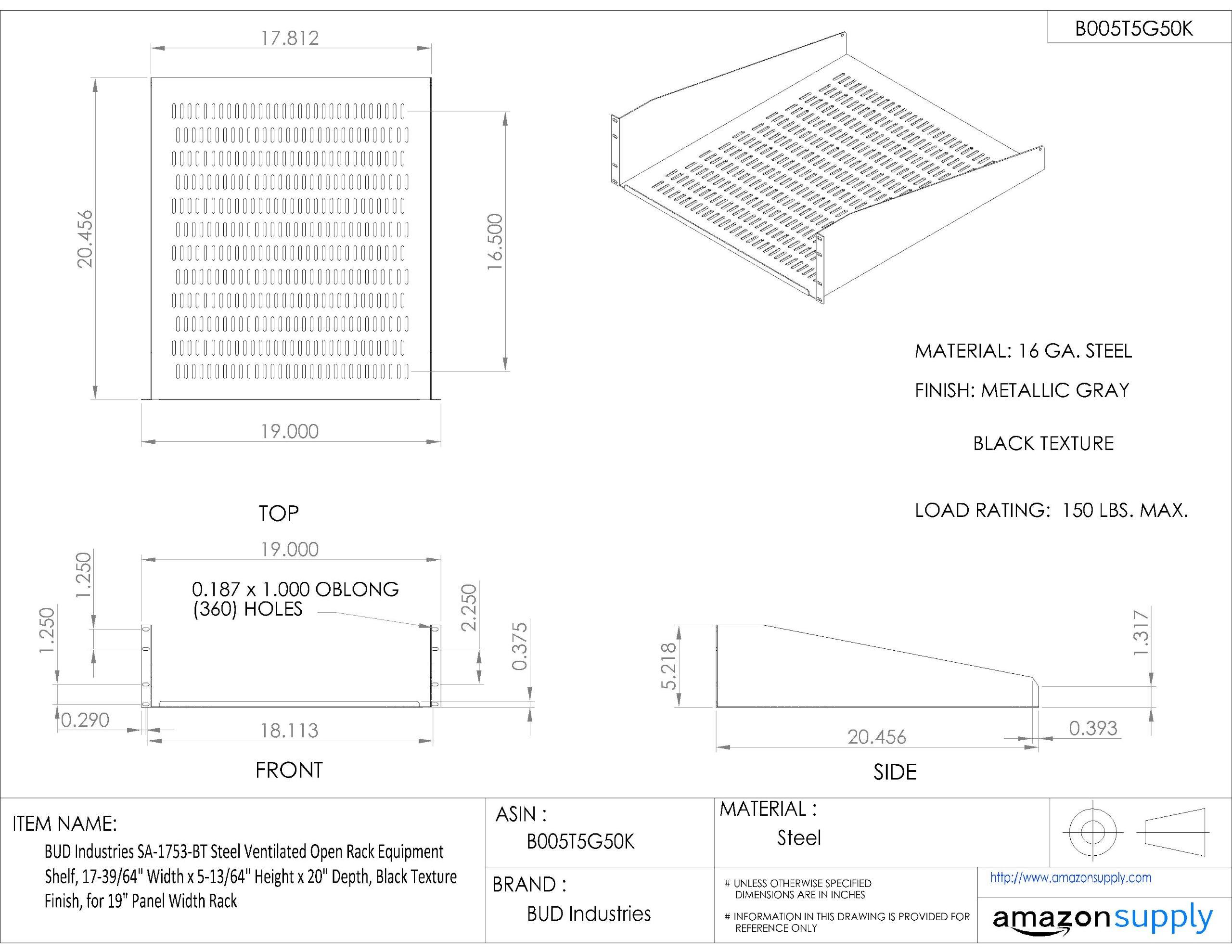 BUD Industries SA-1753-BT Steel Ventilated Open Rack Equipment Shelf, 17-39/64'' Width x 5-13/64'' Height x 20'' Depth, Black Texture Finish, for 19'' Panel Width Rack