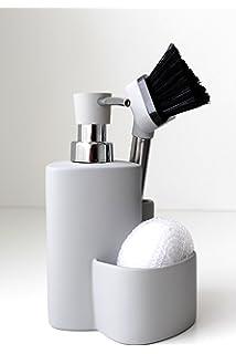 Premium Design Ceramic Kitchen Dishwashing Set Soap Dispenser Sponge  Scrubby Dish Brush Caddy Organizer Set