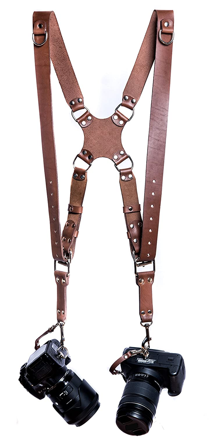Camera Strap Accessories Two-Cameras - Dual Shoulder Leather Harness - Multi Camera Gear DSLR/SLR ProInStyle. Pro In Style