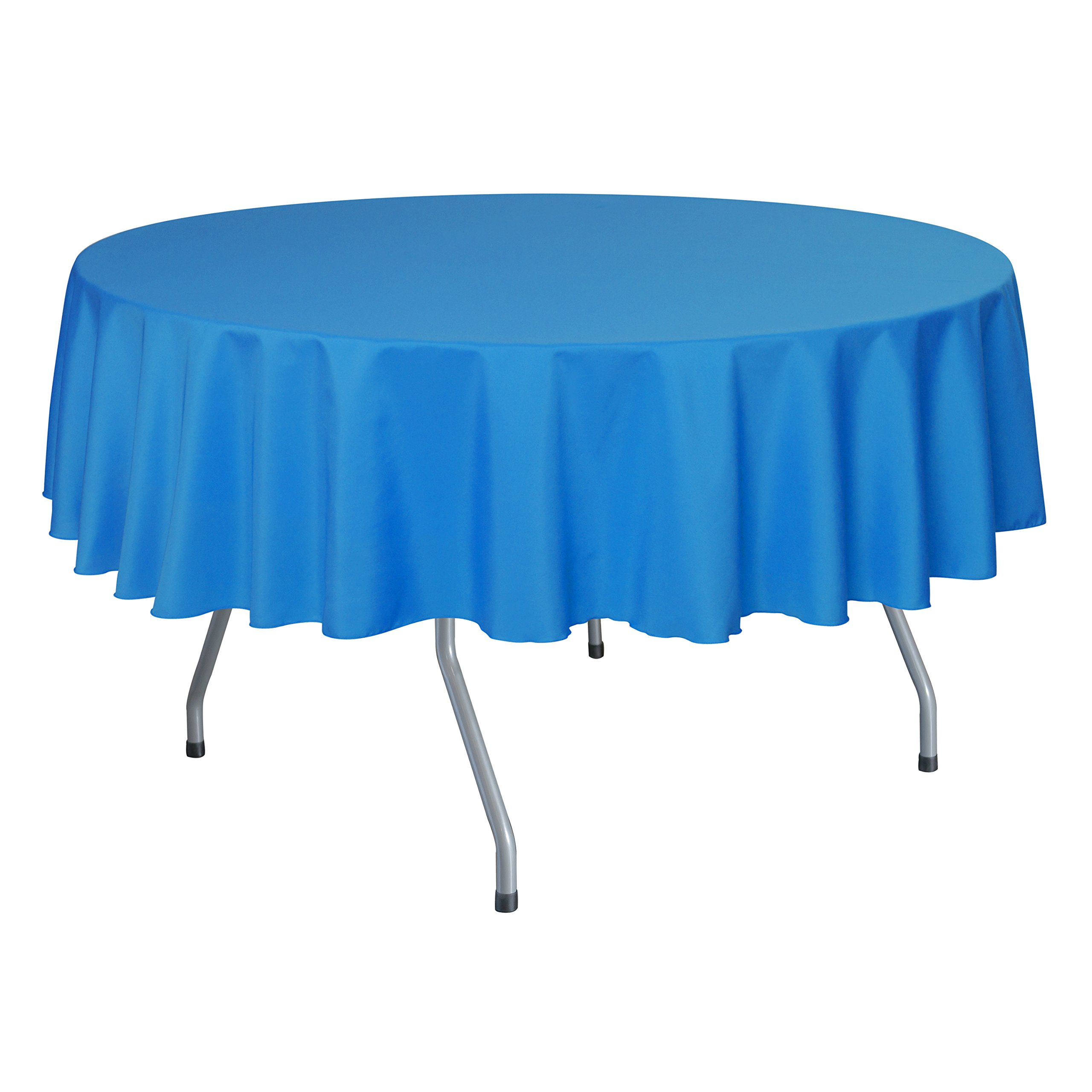 Ultimate Textile (10 Pack) 84-Inch Round Polyester Linen Tablecloth - for Wedding, Restaurant or Banquet use, Cobalt Blue