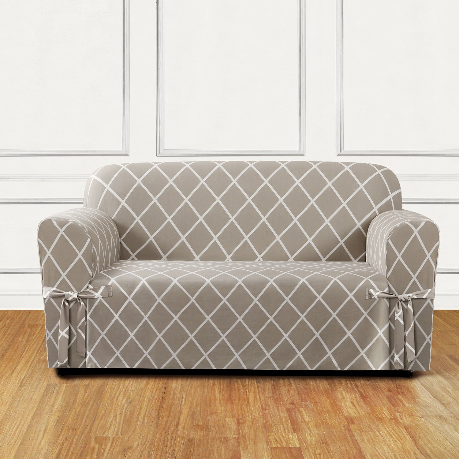 amazoncom sure fit lattice 1piece loveseat slipcover tan sf45864 home u0026 kitchen