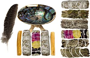 Smudging Kit - Sage Smudge Kit - White Sage Smudge Sticks for Cleansing - White Sage and Palo Santo Sticks - Abalone Shell for Smudging - Smudging Feather - Sage for Cleansing Negative Energy