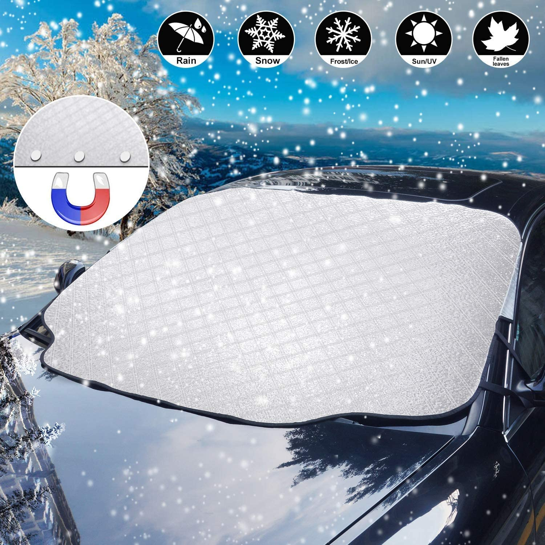 Staub Sonne Tadpolez Windschutzscheiben Autoabdeckung,Faltbare Auto Abdeckung Winterabdeckung Eisschutzfolie Frontscheibenabdeckung Auto Winter F/ür Uv-Strahlung EIS Frost Und Schnee 240Cm*148Cm