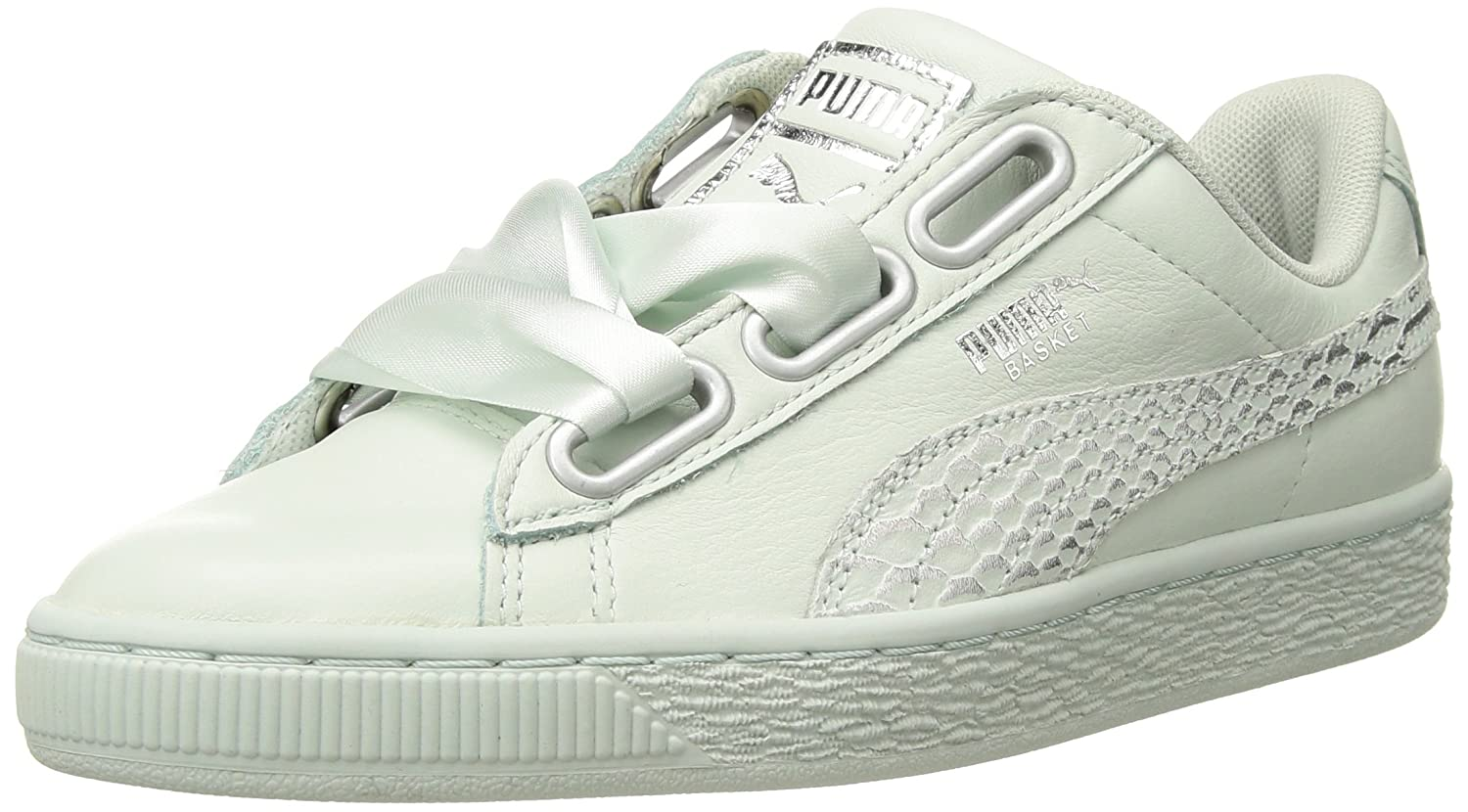 PUMA White Basket Heart Oceanaire Ribbon laced Sneakers