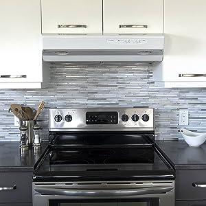 "Smart Tiles Self Adhesive Wall Tiles - Capri Carrera - 4 Sheets of 9.88"" x 9.70"" (25.10cm x 24.64cm) Kitchen and Bathroom Stick on Tiles - 3D Peel and Stick Backsplash"